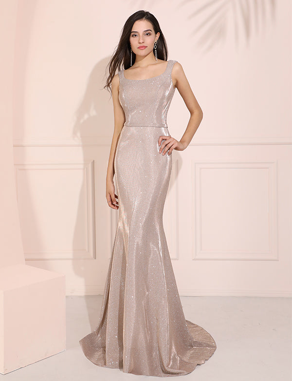 Grey Mermaid Prom Dress Scalloped Zipper Back Evening Dress