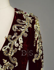 Burgundy Moroccan Caftan Beaded Evening Dress