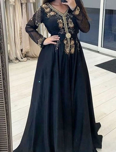 A-line Long Sleeve Dark Navy Elegant Caftan for Women with Embroidery and Beaded