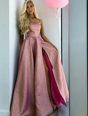 A Line Pink Prom Dress with Split Long Formal Gowns