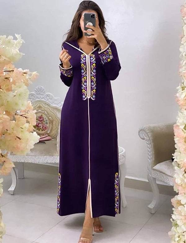 Purple Casual Caftan Dress With Embroidery