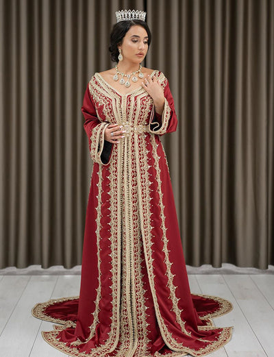 Free Shipping-Beaded Satin Red Wedding Kaftans