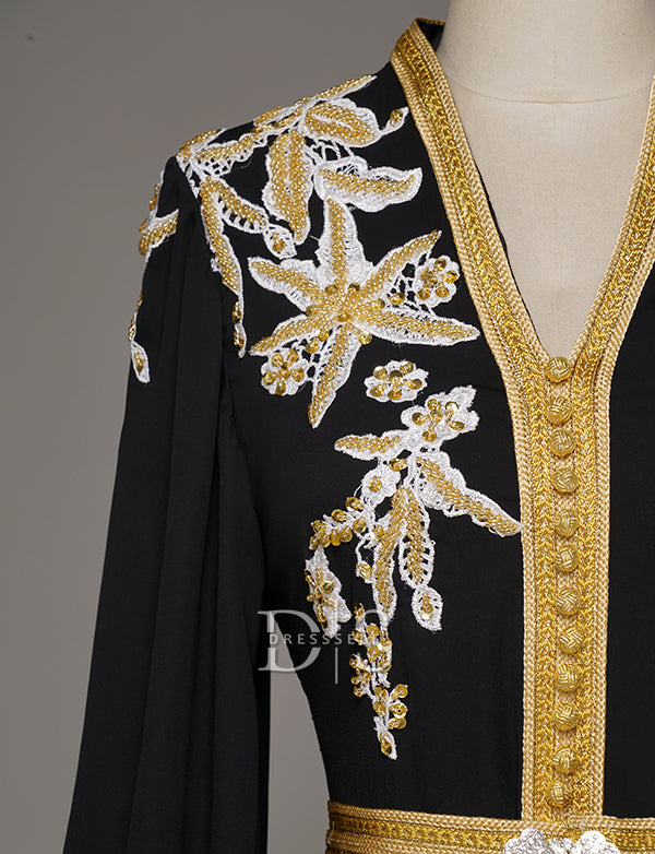 Moroccan Caftans Long Sleeve Embroidery Evening Kaftans Party Dress