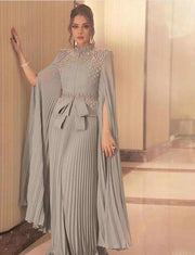 Grey Dubai Caftan Evening Kaftan Dress With Beading
