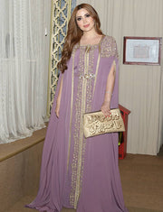 Beaded Purple Moroccan Kaftan Dress With Embroidery