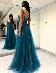 Charming A Line V Neck Split Front Blue Long Prom Dress With Appliques