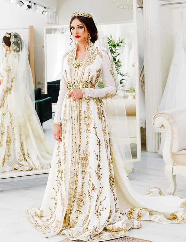 Free Shipping-White and Gold Wedding Kaftan Dress