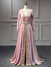 Vintage Moroccan Caftans Pink Velvet Party Dress with Beading
