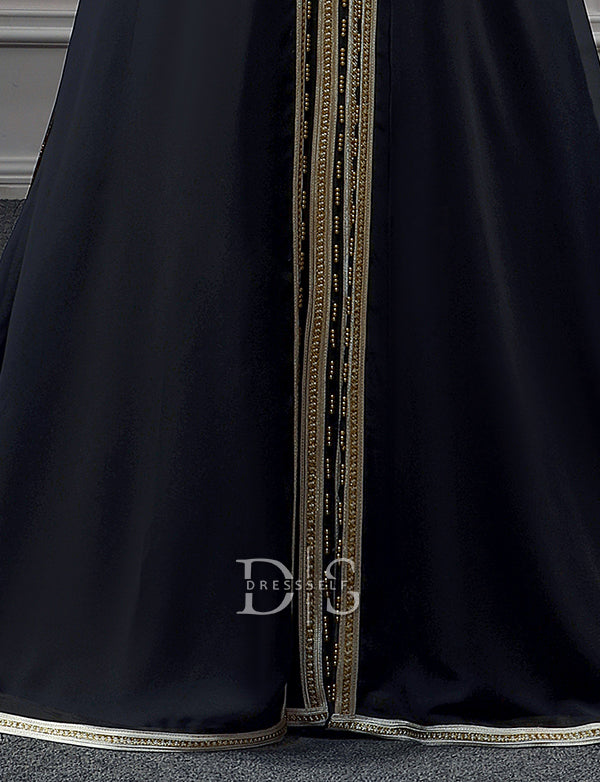 Black Long Sleeve Moroccan Caftans Sweep Train Vintage Party Dress with Embroidery