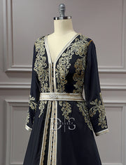 Black Moroccan Caftan Dress with Embroidery