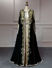 Dark Green Moroccan Caftan Embroidery Vintage Party Dress