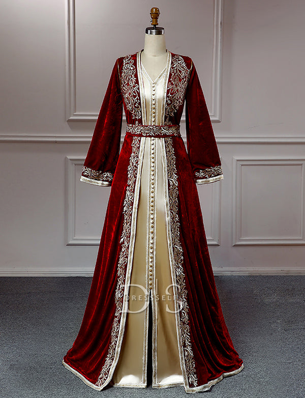 Moroccan Kaftan Burgundy Long Sleeve Evening Party Dresses