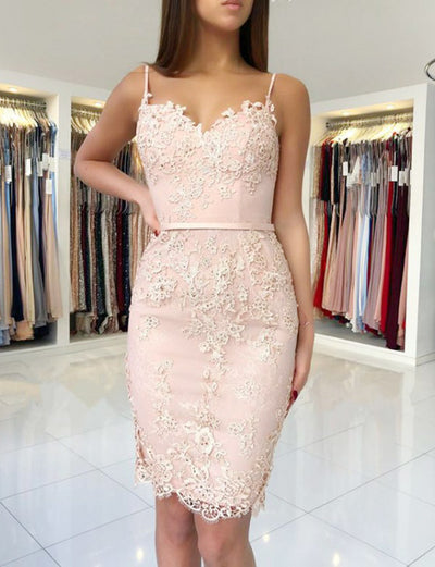Elegant Sheath Spaghetti Straps Pink Short Homecoming Dress With Appliques
