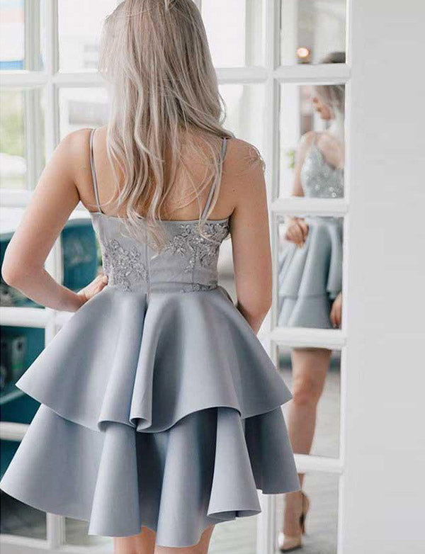 Fashion A Line Spaghetti Straps Grey Short Homecoming Cocktail Dress With Appliques