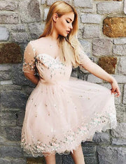 Stunning A Line Bateau Short Sleeves Pearl Pink Short Homecoming Dress with Appliques