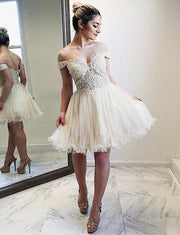 Fashion A Line Off The Shoulder White Short Homecoming Dress With Appliques