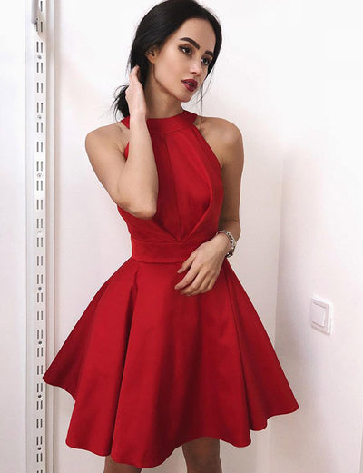 Fashion A Line Jewel Sleeveless Red Short Homecoming Dress