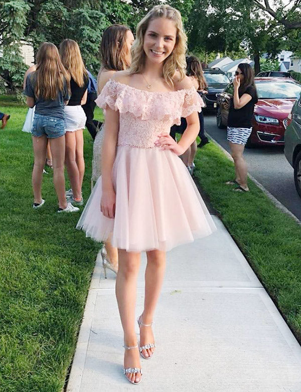 Elegant A Line Off The Shoulder Pink Short Homecoming Dress With Lace