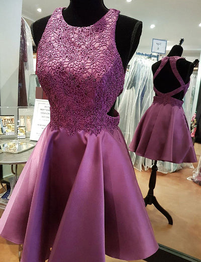 Modern A Line Jewel Sleeveless Purple Short Homecoming Dress with Appliques