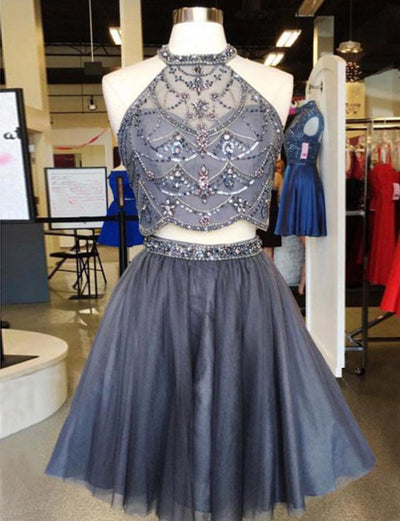 Two Piece A Line Jewel Sleeveless Grey Short Homecoming Dress with Beading