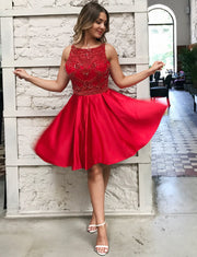 Stunning A Line Bateau Sleeveless Red Short Homecoming Dress with Beading