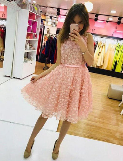 Cute A Line Jewel Sleeveless Pink Short Homecoming Graduation Dress With Appliques
