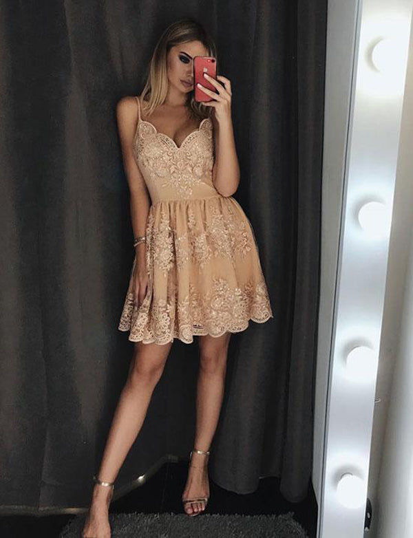 Elegant A Line Spaghetti Straps Champagne Lace Short Homecoming Dress