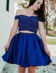 Two Piece A Line Off the Shoulder Royal Blue Short Homecoming Dress with Beading