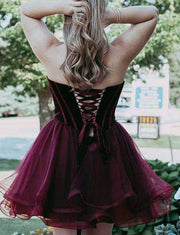 Stylish A Line Sweetheart Burgundy Short Homecoming Dress