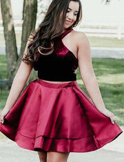 Two Piece A Line Jewel Sleeveless Burgundy Short Homecoming Dress