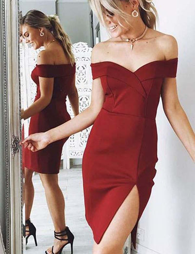 Sexy Sheath Off the Shoulder Burgundy Short Homecoming Cocktail Dress with Split