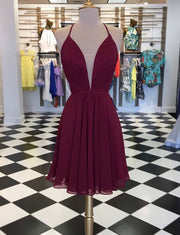 Simple A Line V Neck Sleeveless Burgundy Short Homecoming Dress