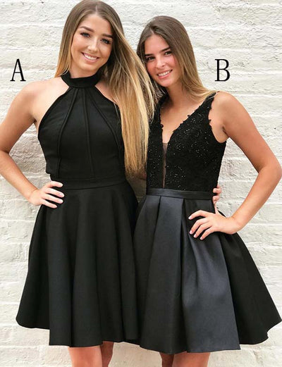 Fashion A Line Halter V Neck Black Short Homecoming Dress With Appliques