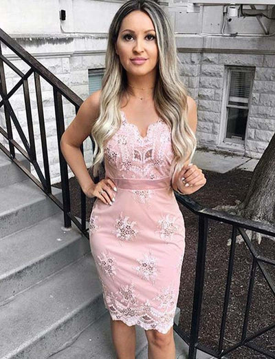 Stylish Sheath Spaghetti Straps Pink Short Homecoming Cocktail Dress with Appliques