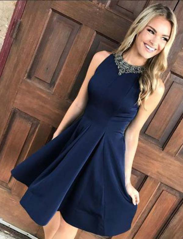 Stunning A Line Jewel Sleeveless Navy Blue Short Homecoming Dress with Beading