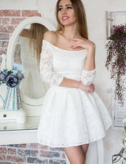 Glamorous A Line Off the Shoulder Long Sleeves White Lace Short Homecoming Dress