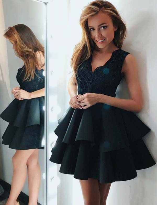 Stylish A Line V Neck Sleeveless Black Short Homecoming Dress with Lace