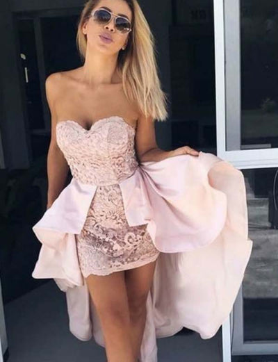 Unique Sheath Sweetheart Pink Lace High Low Homecoming Dress with Detachable Train