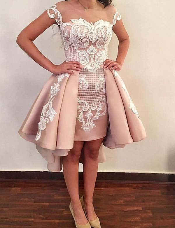 Stylish Sheath Illusion Neck Cap Sleeves Champagne High Low Homecoming Dress with Appliques