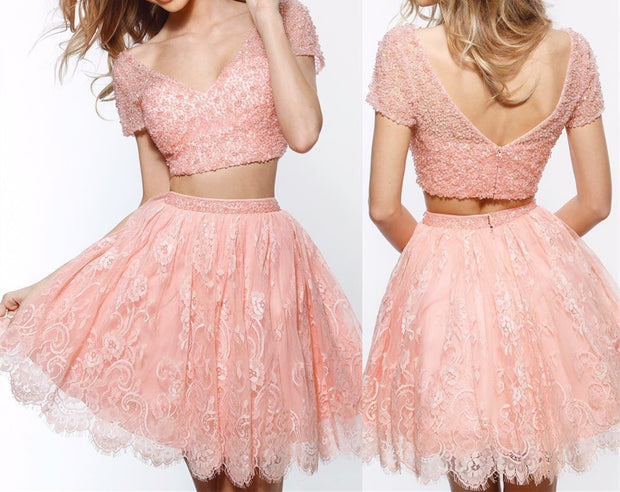 Two Piece A Line V Neck Short Sleeves Pink Short Homecoming Dress with Appliques