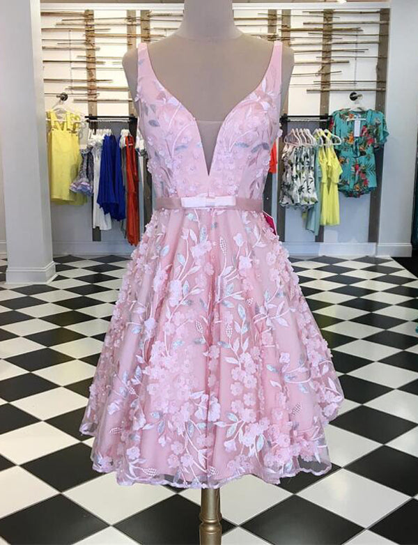 Elegant A Line V Neck Sleeveless Pink Short Homecoming Dress With Appliques