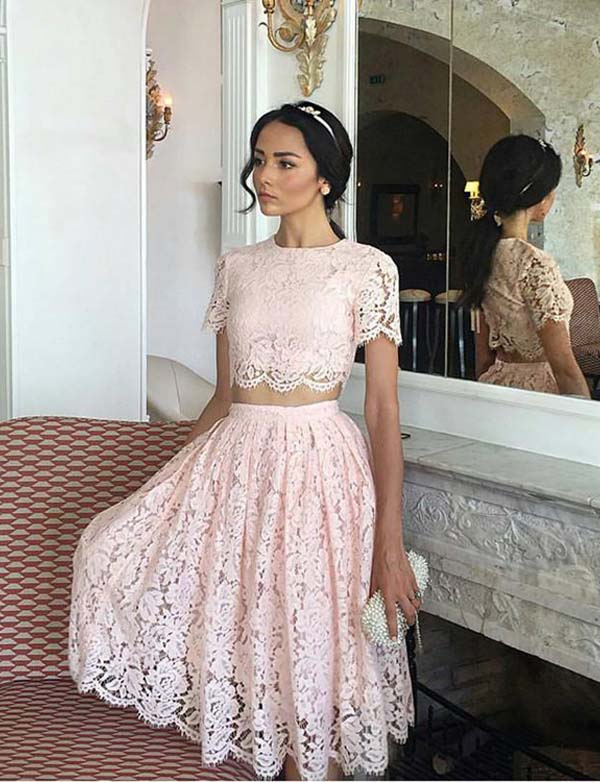 Pretty Two Piece A Line Jewel Short Sleeves Pink Lace Short Homecoming Dress