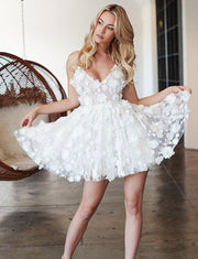Stylish A Line Spaghetti Straps White Short Homecoming Dress with Appliques
