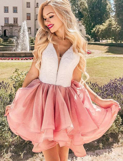 Cute A Line V Neck Sleeveless Pink Short Homecoming Dress with Lace
