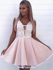 Fashion A Line V Neck Sleeveless Pink Short Homecoming Dress With Appliques