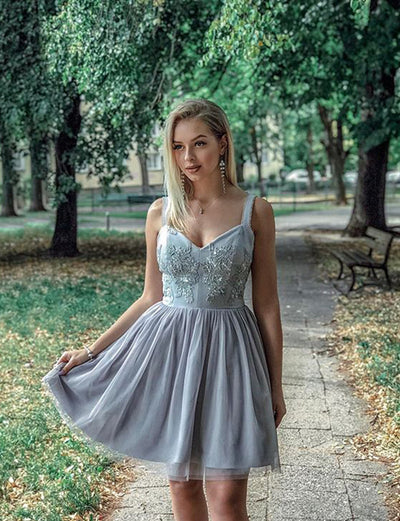 Stylish A Line Straps Grey Short Homecoming Dress with Appliques