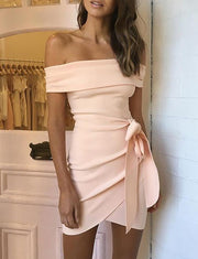 Elegant Sheath Off The Shoulder Pink Short Homecoming Dress