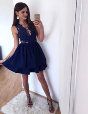 Fashion A Line V Neck Sleeveless Navy Blue Short Homecoming Dress with Lace