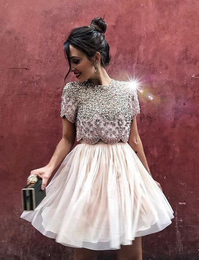 Charming Two Piece A Line Jewel Short Sleeves Pink Short Homecoming Dress with Beading
