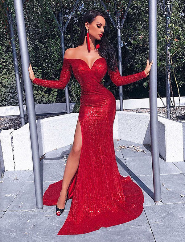 Sheath Off the Shoulder Sweep Train Red Sequined Evening Dress with Split